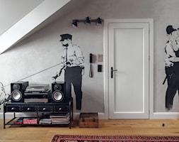 willa w Krakowie - Mały szary pokój dziecka dla chłopca dla dziewczynki dla malucha dla nastolatka, styl industrialny - zdjęcie od double look design