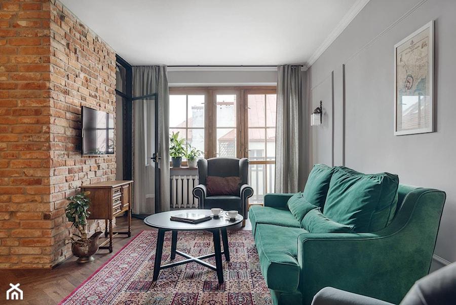 Apartament na wynajem na krakowskim Kazimierzu - Średni szary salon, styl eklektyczny - zdjęcie od double look design