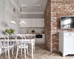 Apartament do wynajęcia z różowymi akcentami. - Mała szara kuchnia jednorzędowa w aneksie, styl eklektyczny - zdjęcie od double look design