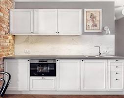 Apartament do wynajęcia na krakowskim Kazimierzu - Mała otwarta biała szara kuchnia jednorzędowa w aneksie, styl eklektyczny - zdjęcie od double look design