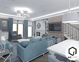 Dom w stylu New Hampton - Średni szary salon z jadalnią z tarasem / balkonem, styl klasyczny - zdjęcie od ART ELIXIR