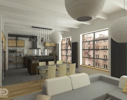 LOFT - Salon z aneksem kuchennym - Duża otwarta szara jadalnia w kuchni w salonie, styl industrialny - zdjęcie od HD PROJEKT - Studio Projektowania Wnętrz