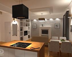 STARA KAMIENICA - Apartament 60m2 - Mały biały salon z bibiloteczką z kuchnią z jadalnią, styl eklektyczny - zdjęcie od HD PROJEKT - Studio Projektowania Wnętrz