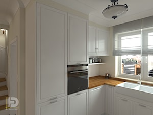 SEGMENT MIESZKALNY - Parter 50m2 - Mała zamknięta szara kuchnia w kształcie litery l z oknem, styl klasyczny - zdjęcie od HD PROJEKT - Studio Projektowania Wnętrz