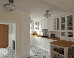 SEGMENT MIESZKALNY - Parter 50m2 - Średnia otwarta beżowa kuchnia w kształcie litery u z oknem, styl klasyczny - zdjęcie od HD PROJEKT - Studio Projektowania Wnętrz