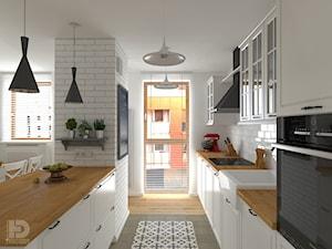 ZEN GARDEN - Mieszkanie 68m2 - Średnia otwarta biała kuchnia dwurzędowa z wyspą z oknem, styl skandynawski - zdjęcie od HD PROJEKT - Studio Projektowania Wnętrz