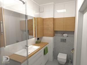 VILLA NOBILE - Mieszkanie 48m2 - Mała biała łazienka w bloku w domu jednorodzinnym bez okna, styl nowoczesny - zdjęcie od HD PROJEKT - Studio Projektowania Wnętrz