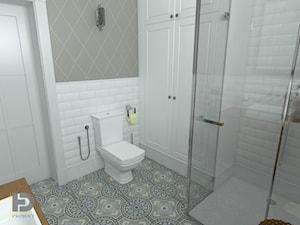 SEGMENT MIESZKALNY - Poddasze 50m2 - Mała biała łazienka w bloku w domu jednorodzinnym bez okna, styl klasyczny - zdjęcie od HD PROJEKT - Studio Projektowania Wnętrz