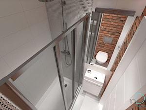 Mieszkanie dla singla - Mała szara łazienka na poddaszu w bloku w domu jednorodzinnym bez okna, styl industrialny - zdjęcie od INDOMDESIGN