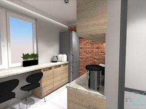 Mieszkanie dla singla - Średnia otwarta wąska biała kuchnia dwurzędowa z oknem, styl nowoczesny - zdjęcie od INDOMDESIGN