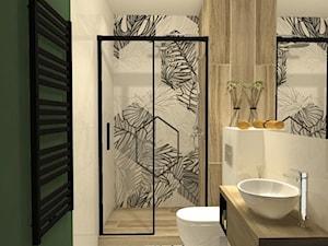 Łazienka z zieloną ścianą