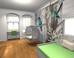 Pokój z kolibrem - Średni szary miętowy pokój dziecka dla chłopca dla dziewczynki dla nastolatka, styl nowoczesny - zdjęcie od Innerium Karolina Trojga