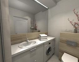 Mikro łazienka w bloku - Mała szara łazienka na poddaszu w bloku w domu jednorodzinnym bez okna, styl nowoczesny - zdjęcie od Innerium Karolina Trojga