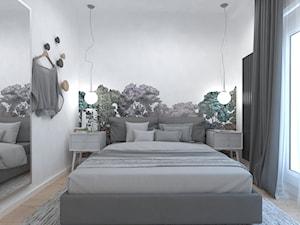 Sypialnia z botaniczną tapetą