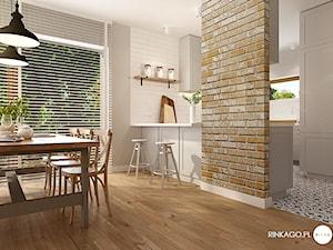 Projekt wnętrza w stylu skandynawskim z rustykalnymi akcentami i naturalną cegłą - zdjęcie od Karina Godlewska