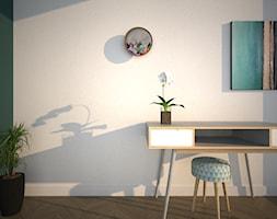 Mieszkanie na Warszawskim Ursynowie - Małe szare zielone biuro kącik do pracy, styl minimalistyczny - zdjęcie od Free Mind Design