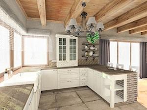 Rustykalny dom parterowy w Kłobucku - Duża otwarta beżowa szara kuchnia w kształcie litery g w aneksie z oknem, styl prowansalski - zdjęcie od Katarzyna Gruca Pracownia Kreacji