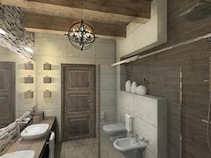 Rustykalny dom parterowy w Kłobucku - Średnia łazienka w bloku w domu jednorodzinnym bez okna, styl rustykalny - zdjęcie od Katarzyna Gruca Pracownia Kreacji