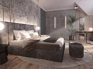 Projekt sypialni w stylu art deco - Duża szara sypialnia małżeńska na poddaszu, styl art deco - zdjęcie od Katarzyna Gruca Pracownia Kreacji