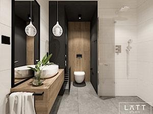 Dom jednorodzinny II - Konstancin - Średnia czarna łazienka w bloku w domu jednorodzinnym bez okna, styl nowoczesny - zdjęcie od LÄTT Studio Wnętrz