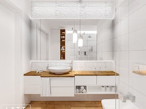 Łazienka I - White&elegant, Warszawa - Mała biała łazienka na poddaszu w bloku w domu jednorodzinnym bez okna, styl nowoczesny - zdjęcie od LÄTT Studio Wnętrz