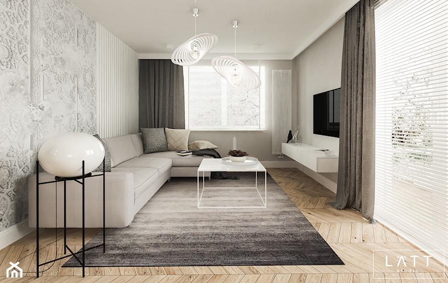Dom jednorodzinny II - Konstancin - Duży szary salon, styl nowoczesny - zdjęcie od LÄTT Studio Wnętrz