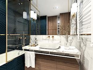 Z granatem. Łazienka. - Średnia biała turkusowa łazienka bez okna, styl nowoczesny - zdjęcie od LÄTT Studio Wnętrz