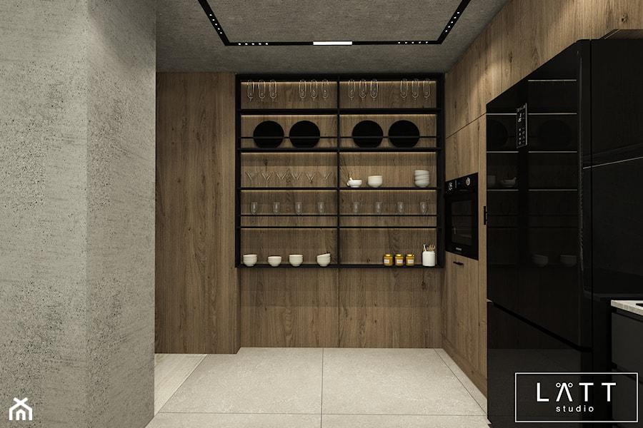 Apartament Zielony Imielin I, Warszawa - Duża zamknięta szara kuchnia w kształcie litery l, styl industrialny - zdjęcie od LÄTT Studio Wnętrz