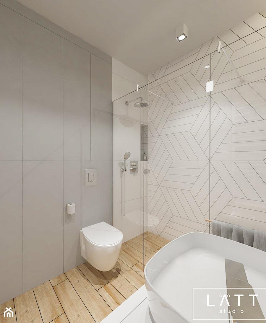 Grzybowska 1, Warszawa - Mała szara łazienka w bloku w domu jednorodzinnym bez okna, styl skandynawski - zdjęcie od LÄTT Studio Wnętrz