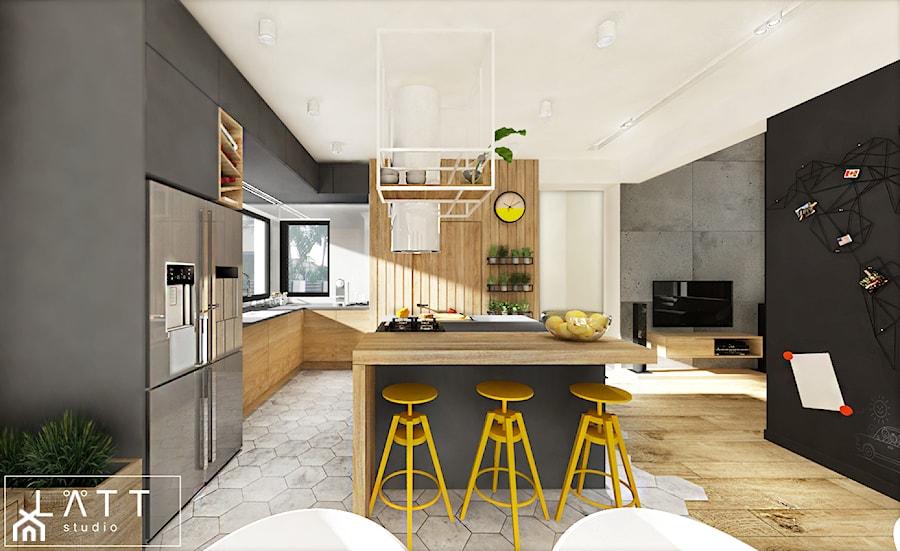 Dom jednorodzinny I - salon z kuchnią - Kuchnia, styl skandynawski - zdjęcie od LÄTT Studio Wnętrz