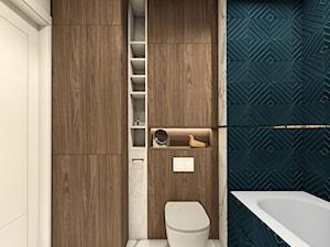 Z granatem. Łazienka. - Mała biała turkusowa łazienka bez okna, styl nowoczesny - zdjęcie od LÄTT Studio Wnętrz
