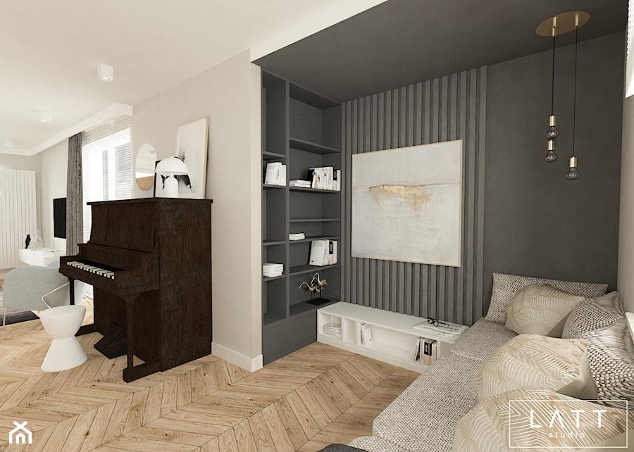 Dom jednorodzinny II - Konstancin - Duży szary czarny salon, styl nowoczesny - zdjęcie od LÄTT Studio Wnętrz