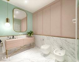 Łazienka II - Pastelove - Średnia biała zielona łazienka na poddaszu w bloku w domu jednorodzinnym bez okna, styl skandynawski - zdjęcie od LÄTT Studio Wnętrz