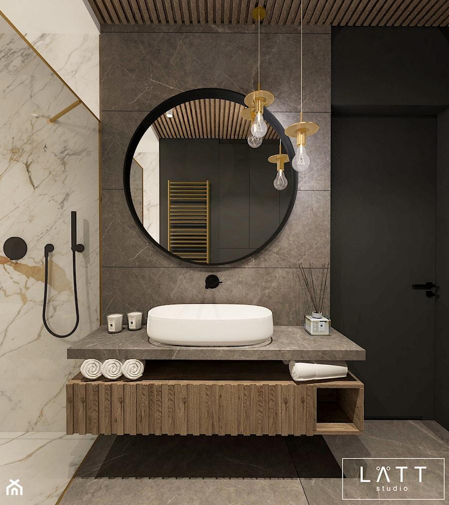 Apartament Zielony Imielin I, Warszawa - Średnia beżowa łazienka w domu jednorodzinnym, styl nowoczesny - zdjęcie od LÄTT Studio Wnętrz