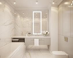 Ponadczasowa łazienka z płytkami z wzorem calacatta. - zdjęcie od Aleksandra Wachowicz - Homebook