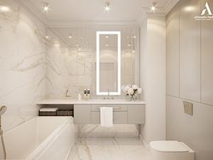 Ponadczasowa łazienka z płytkami z wzorem calacatta. - zdjęcie od Aleksandra Wachowicz