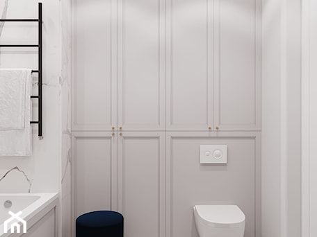 Aranżacje wnętrz - Łazienka: Apartament Sarmacka - Łazienka, styl nowojorski - Aleksandra Wachowicz. Przeglądaj, dodawaj i zapisuj najlepsze zdjęcia, pomysły i inspiracje designerskie. W bazie mamy już prawie milion fotografii!