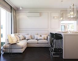Pokój dzienny z aneksem w stylu amerykańskim - Mały beżowy salon z jadalnią z tarasem / balkonem, styl nowojorski - zdjęcie od Aleksandra Wachowicz