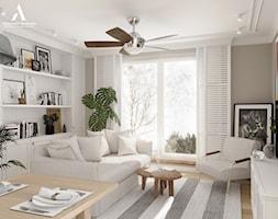 Mieszkanie w stylu boho - Mały szary salon z jadalnią, styl nowojorski - zdjęcie od Aleksandra Wachowicz