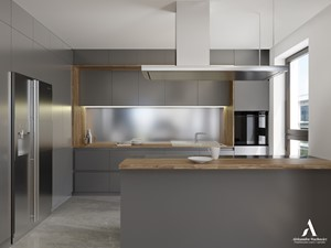 Nova Krolikarnia Mokotow - Średnia otwarta szara kuchnia w kształcie litery l z oknem, styl nowoczesny - zdjęcie od Aleksandra Wachowicz