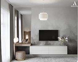Projekt wnętrz skandynawskiego domu - Mała szara sypialnia, styl skandynawski - zdjęcie od Aleksandra Wachowicz