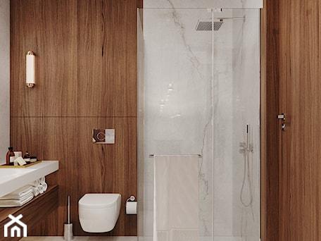 Aranżacje wnętrz - Łazienka: Nowoczesna łazienka z zastosowaniem forniru - Aleksandra Wachowicz. Przeglądaj, dodawaj i zapisuj najlepsze zdjęcia, pomysły i inspiracje designerskie. W bazie mamy już prawie milion fotografii!