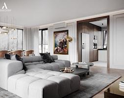 Dom Parterowy - Średni biały salon z jadalnią, styl nowojorski - zdjęcie od Aleksandra Wachowicz - Homebook