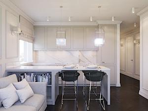 Pokój dzienny z aneksem w stylu amerykańskim - Średnia otwarta biała kuchnia dwurzędowa w aneksie z oknem, styl nowojorski - zdjęcie od Aleksandra Wachowicz