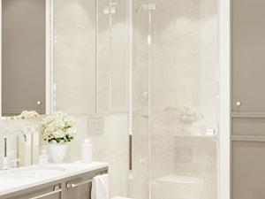 Mieszkanie w beżach - Mała szara łazienka w bloku w domu jednorodzinnym bez okna, styl nowoczesny - zdjęcie od Aleksandra Wachowicz