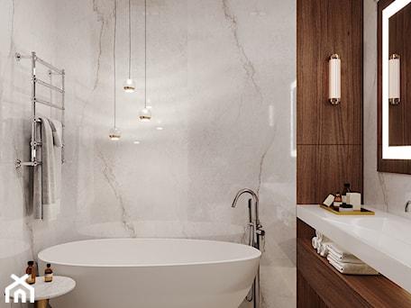 Aranżacje wnętrz - Łazienka: Nowoczesna łazienka z użyciem płyt wielkoformatowych - Aleksandra Wachowicz. Przeglądaj, dodawaj i zapisuj najlepsze zdjęcia, pomysły i inspiracje designerskie. W bazie mamy już prawie milion fotografii!