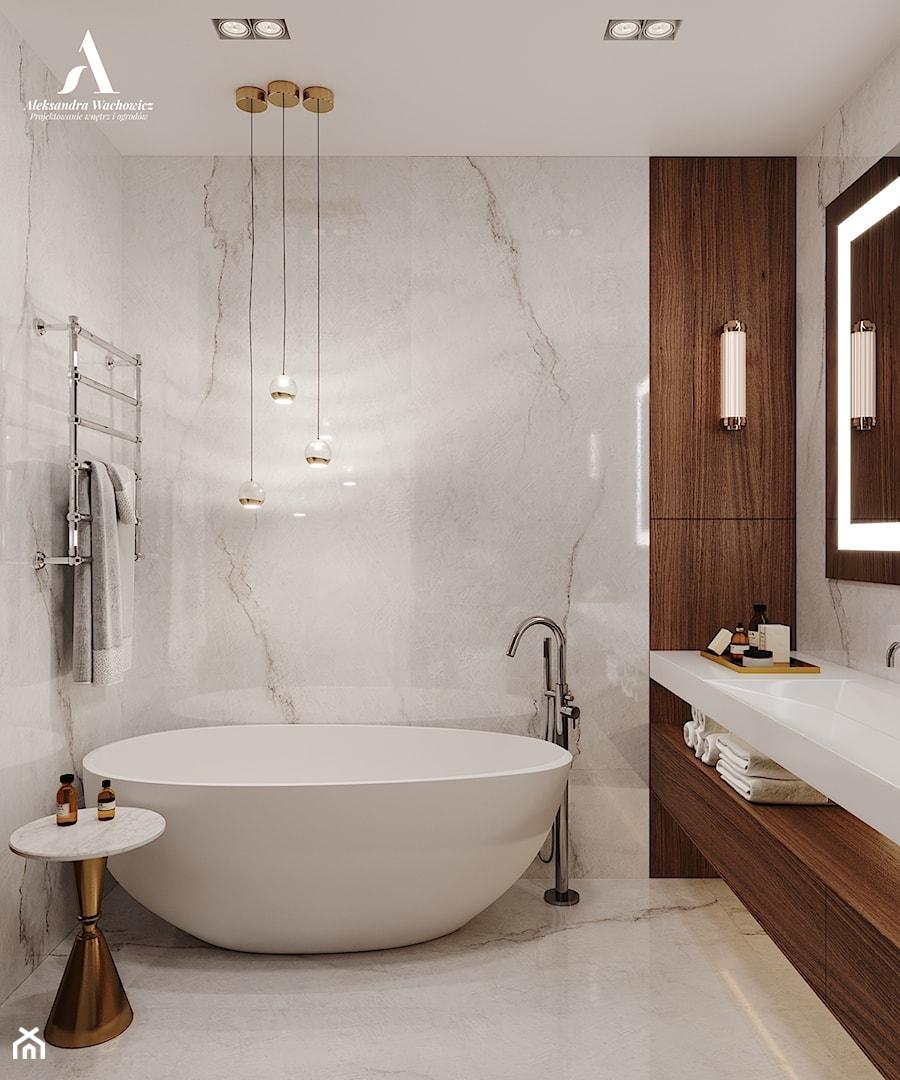 Nowoczesna łazienka z użyciem płyt wielkoformatowych - zdjęcie od Aleksandra Wachowicz