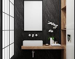 Nova Krolikarnia Mokotow - Mała czarna szara łazienka w bloku w domu jednorodzinnym bez okna, styl nowoczesny - zdjęcie od Aleksandra Wachowicz