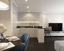 Projekt wnętrz w odcieniach beżu - Średni biały salon z kuchnią z jadalnią, styl nowojorski - zdjęcie od Aleksandra Wachowicz