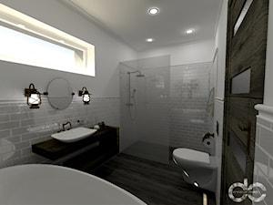 Projekt łazienki domu jednorodzinnego w Drogomyślu - Średnia szara łazienka w bloku w domu jednorodzinnym z oknem, styl rustykalny - zdjęcie od dc creative design